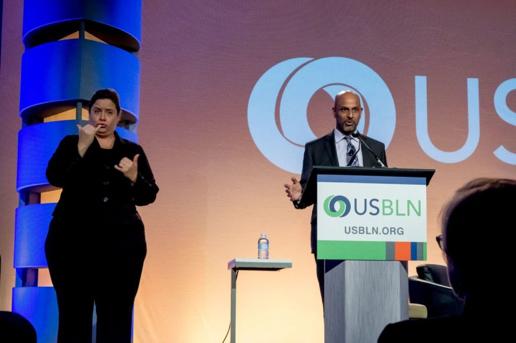 Apoorva Gandhi, Vice President, Multicultural Affairs at Marriott International and USBLN Board Member, moderates the Plenary Session: The Technology Marketplace