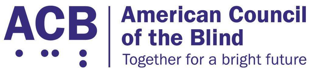 American Council of the Blind logo with tagline: Together for a bright future