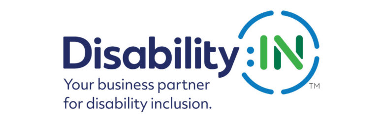 "Logo for Disability:IN with the tag line ""Your business partner for disability inclusion."""